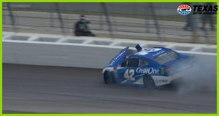 Hard hit for Kyle Larson takes the No. 42 out early at Texas