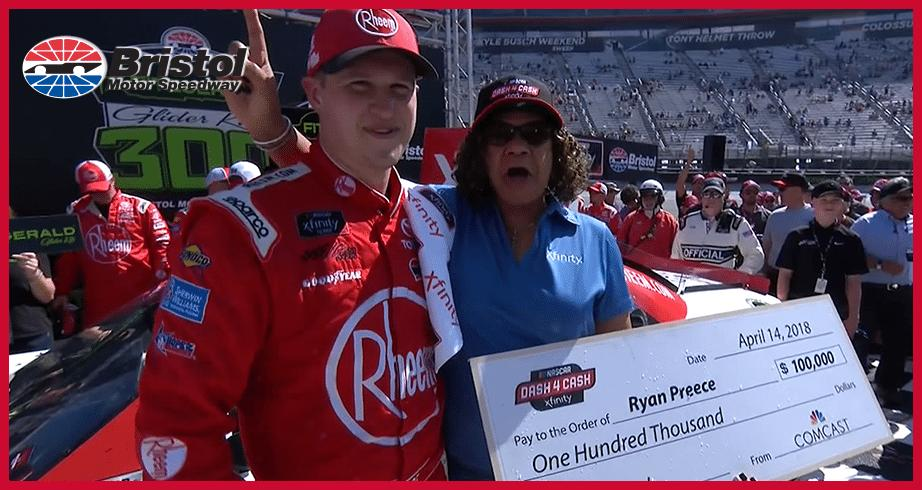 Fired-up Ryan Preece accepts Dash 4 Cash check in Bristol Victory Lane