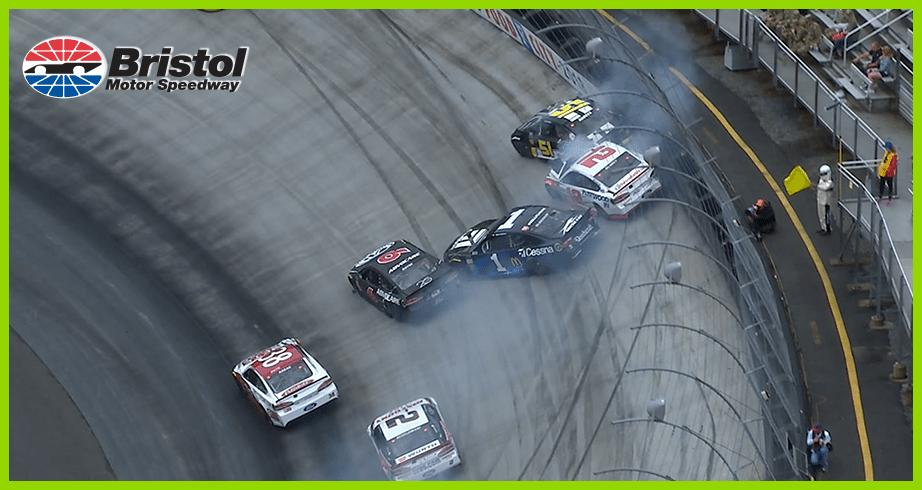 Blaney caught up in crash while leading Bristol race