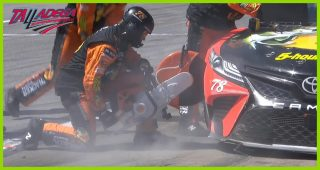 No. 78 crew goes to work with a saw on pit road