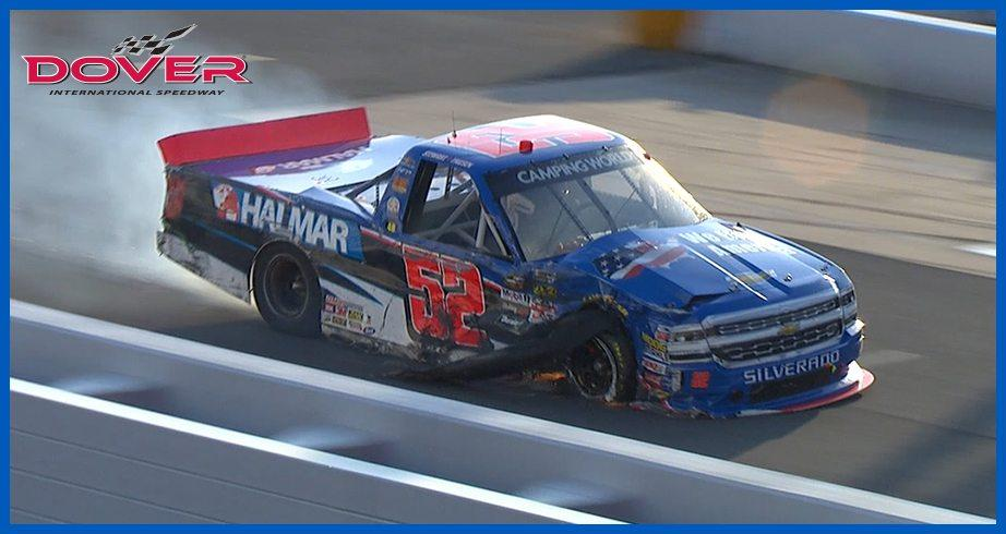 Friesen slams the wall in late-race Dover crash