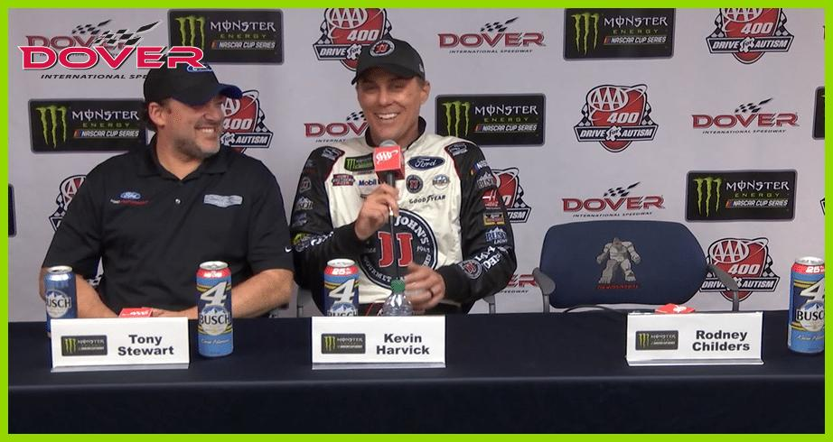 Harvick to Keelan on Dover trophy: 'Do not break the arm off this one'