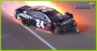 Fiery seven-car crash strikes late at Kansas