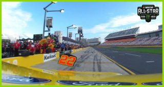 Watch Logano fly onto pit road through in-car camera