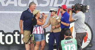 Marine's homecoming surprise for family at Trackside Live