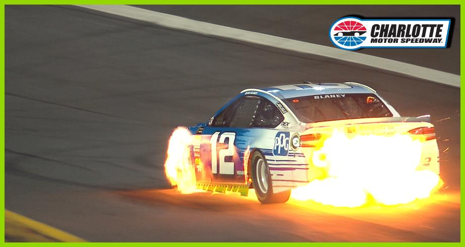No. 12 car of Ryan Blaney catches fire