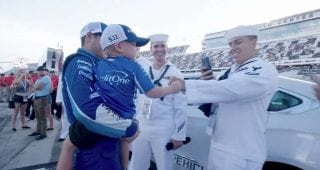 Larson tips cap to NASCAR Salutes program
