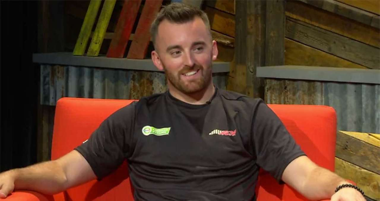 Austin Dillon reacts to Larson/Busch contact