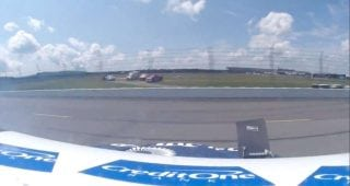 In-car: Kyle Larson's view of spin, brush with wall at Pocono