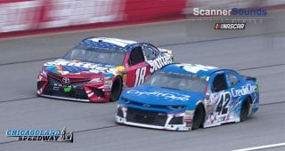Listen as Larson and Busch battle for the win at Chicagoland