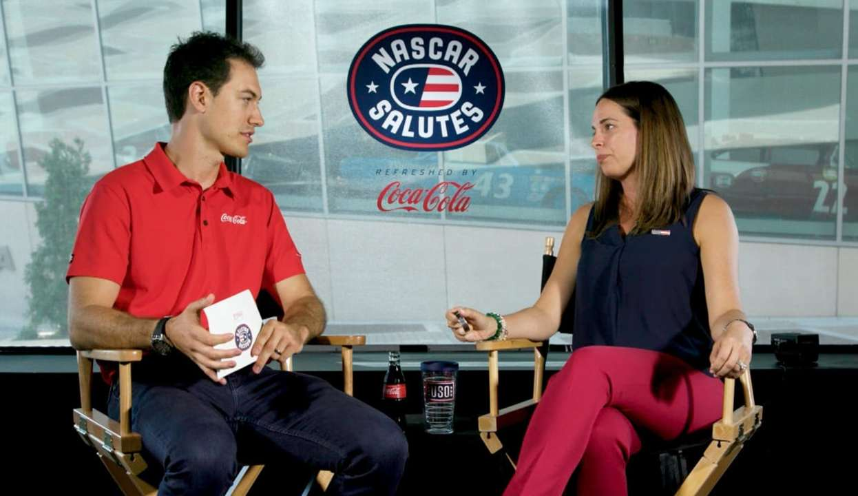Joey Logano, Gold Star military spouse talk about USO's help for families of the fallen