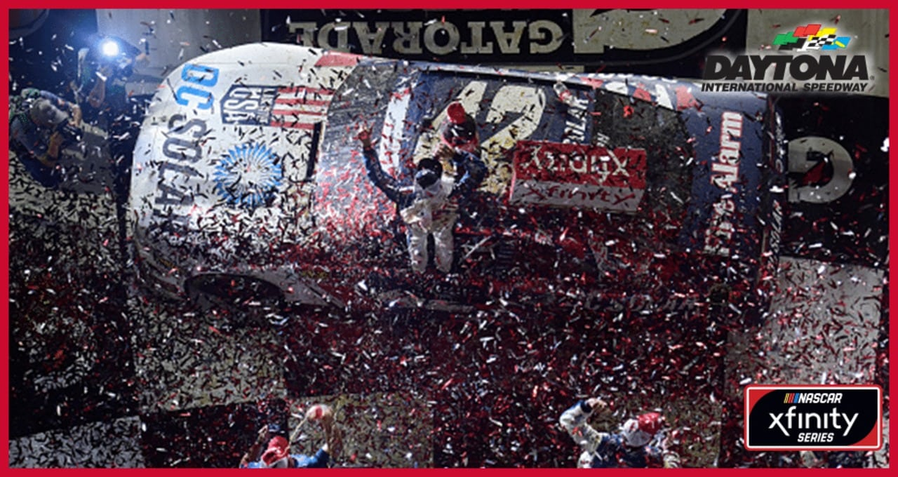 Wild finish: Larson earns Daytona victory