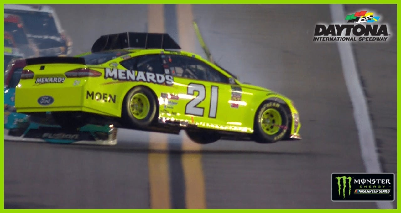 Menard goes flying sideways, lands on all four wheels