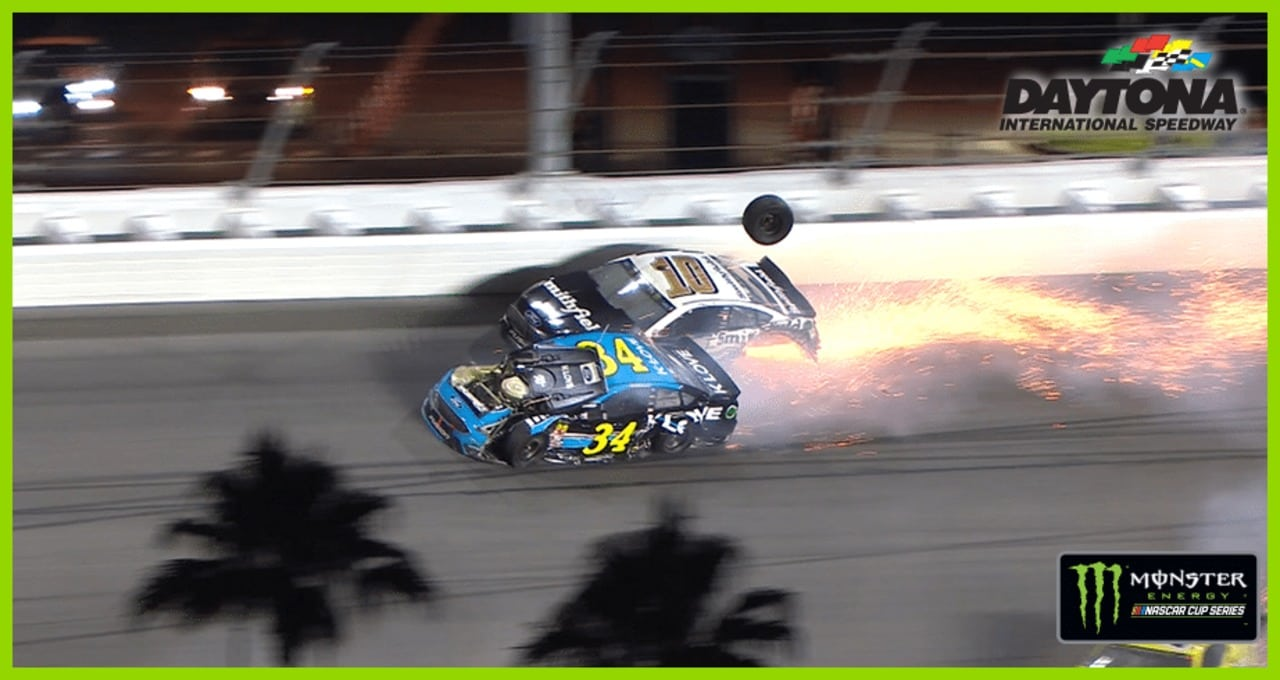 There goes a tire! Watch rubber roll at Daytona
