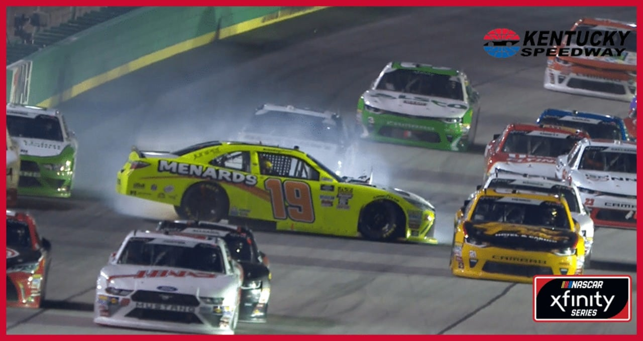 Jones spins through traffic after Nemechek contact