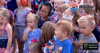 MRO Kids perform the National Anthem before the Bristol Night Race