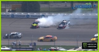 Truex, Byron collide, wreck early at Michigan
