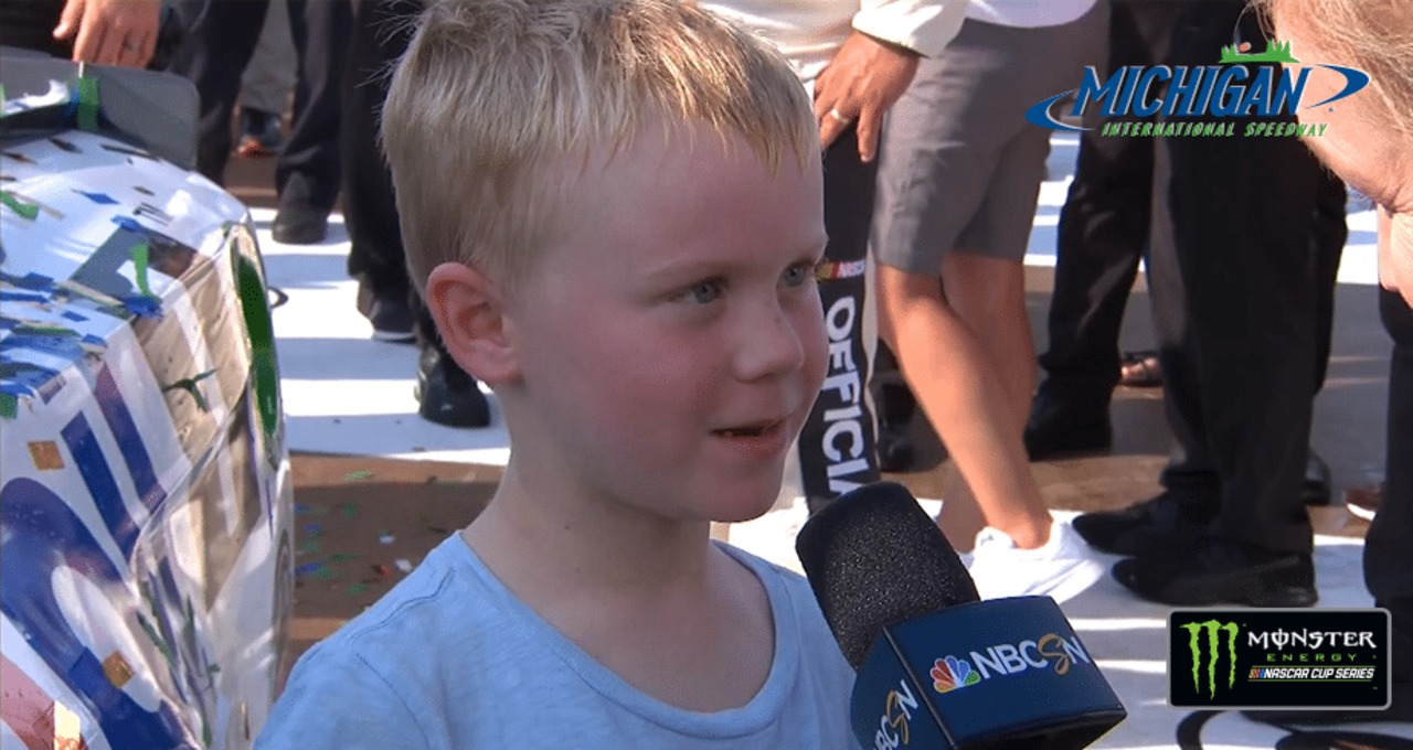 Kids Drive NASCAR: Keelan Harvick gets his own interview in Victory Lane