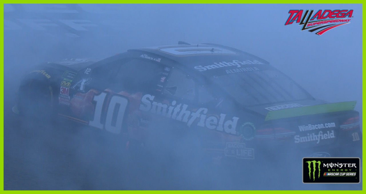 Aric Almirola breaks through for Talladega win, burns his tires down