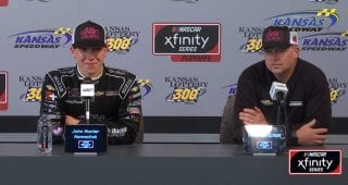 Joe Nemechek calls John Hunter from Victory Lane