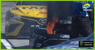 Stenhouse Jr.'s car catches fire on pit road