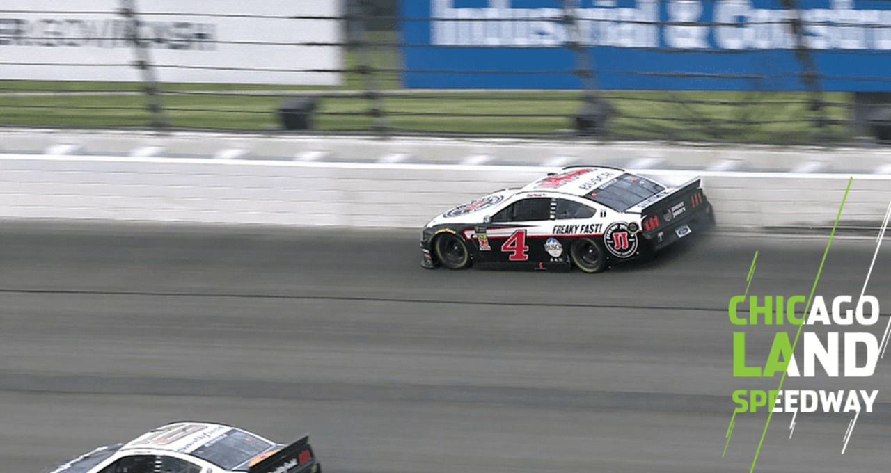 Harvick hammers the wall in Turn 2 in final stage - NASCAR EN ESPANOL